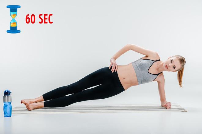 Bài tập giảm mỡ bụng thứ 6: Tư thế Plank nghiêng